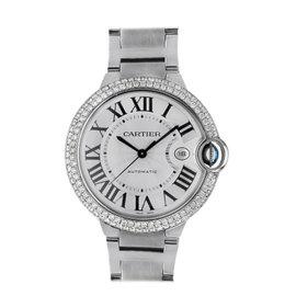 Cartier W69012Z4 Ballon Bleu White Face Automatic Diamond Mens 42mm Watch