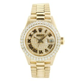 Rolex Ladies President Watch Yellow Gold Champagne Roman Diamond Bezel