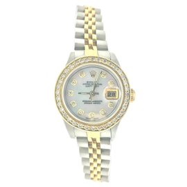 Rolex Oyster Perpetual Datejust 79173 Diamond Dial 18K Gold Stainless Steel Womens Watch