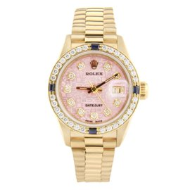 Rolex Ladies President Yellow Gold Champagne Roman Diamond Bezel 6917 Watch