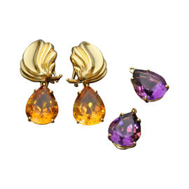 Tiffany & Co. Paloma Picasso 18K Yellow Gold Amethyst and Citrine Day & Night Earrings