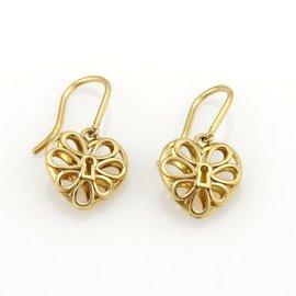 Tiffany & Co. 18k Yellow Gold Enchant Heart Lock Drop Earrings