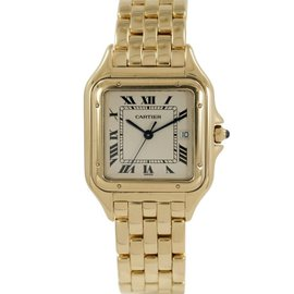 Cartier Panthere 1060 2 Solid 18K Yellow Gold Off White Dial Quartz Large 28mm Womens Watch