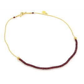 Gurhan 24K Yellow Gold Ruby Beads Straw Link Necklace