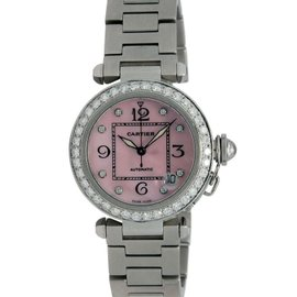Cartier Pasha 2324 Stainless Steel Pink Mother Of Pearl Diamond Dial Automatic Womens Watch