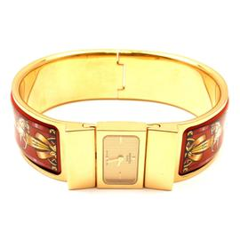 Hermes Loquet Red Horse Equestrian Motif Bangle Bracelet Watch