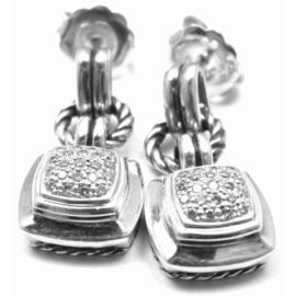 David Yurman Renaissance Diamond Sterling Silver Cable Earrings
