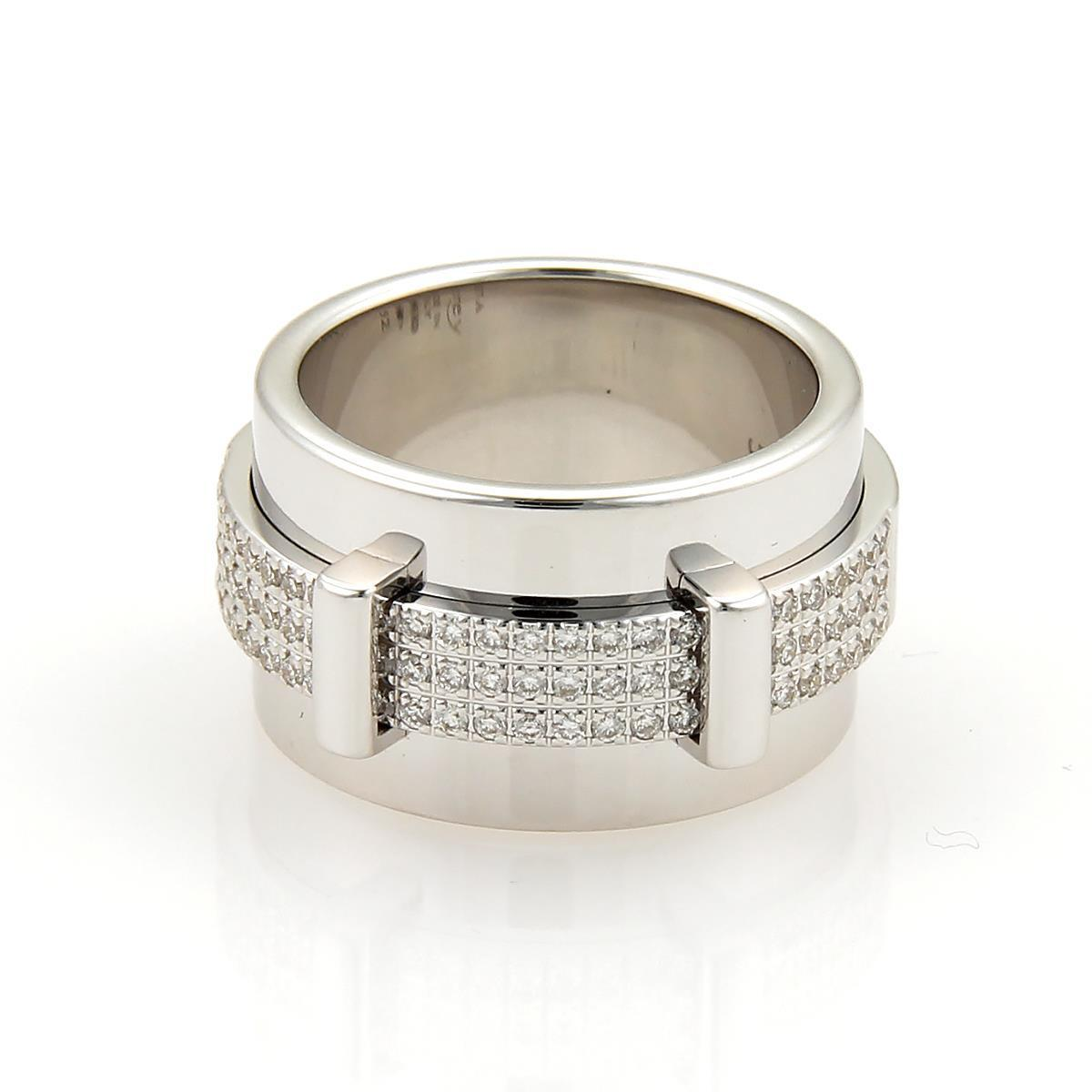 "Image of ""Asprey Keria 18K White Gold & Diamond Spinning Wide Band Ring"""