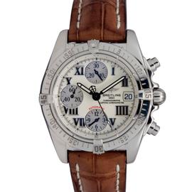 Breitling Cockpit A13358 Steel Leather Band Off-White Dial Automatic Men's Watch