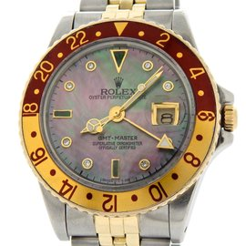 Rolex GMT-Master 16753 2Tone 18K Yellow Gold/Stainless Steel Root Beer Diamond Mens Watch