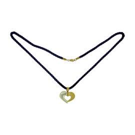 Van Cleef & Arpels 18K Yellow Gold Mother-of-pearl Silk Cord Heart Pendant