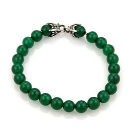 David Yurman Spiritual Green Onyx Beads Sterling Silver Bracelet