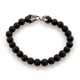 David Yurman Spiritual Bleached Black Onyx Beads Sterling Silver Bracelet