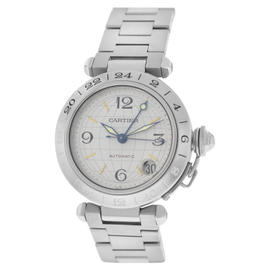 Cartier Pasha GMT 2377 Stainless Steel Date Automatic Unisex Watch 35mm
