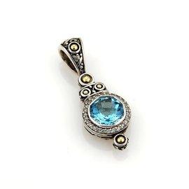 John Hardy 18K Gold Batu Sari Blue Diamonds & Topaz Sterling Pendant