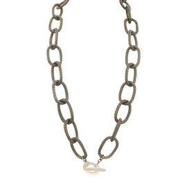 Tiffany & Co. Picasso Black Palladium & Silver Long Mesh Link Toggle Necklace