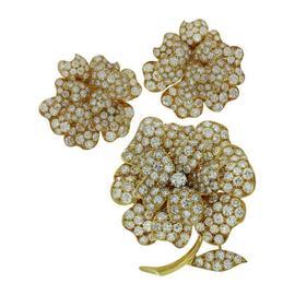 Van Cleef & Arpels Diamond Yellow Gold Flower Brooch & Earrings