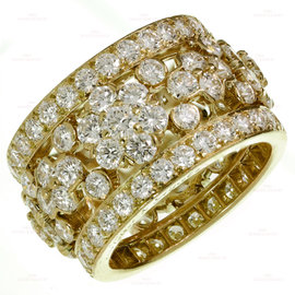 Van Cleef & Arpels 18K Yellow Gold Snowflake Bandeau Diamond Ring