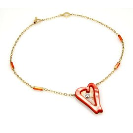 Roberto Coin 18K Yellow Gold Ariel's Heart of Hope Diamond & Red Mother Of Pearl Necklace