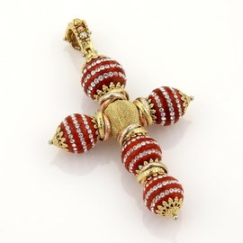 18K Tri-Color Gold Clear Swarovski & Cinnabar Cross Pendant