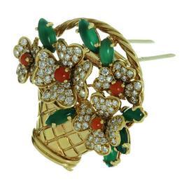 Van Cleef & Arpels Diamond Coral Chalcedony Gold Bouquet Brooch
