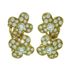 Van Cleef & Arpels 18K Yellow Gold Trefle Diamond Flower Earrings