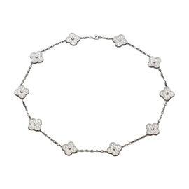 Van Cleef & Arpels 18K White Gold Alhambra Diamond Motif Necklace
