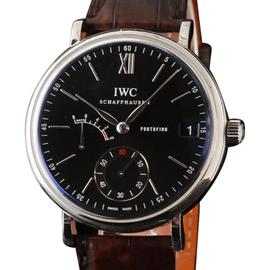 IWC Portofino IW510102 Eight Days Black Dial Leather 45mm Watch