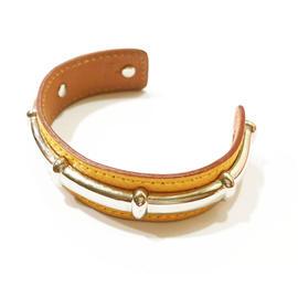 Hermes Palladium Bamboo Leather Bangle Bracelet