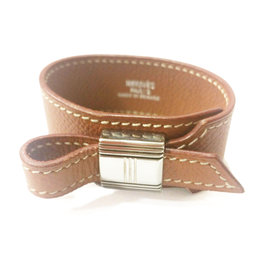 Hermes Kelly Lock Brown Leather Bracelet