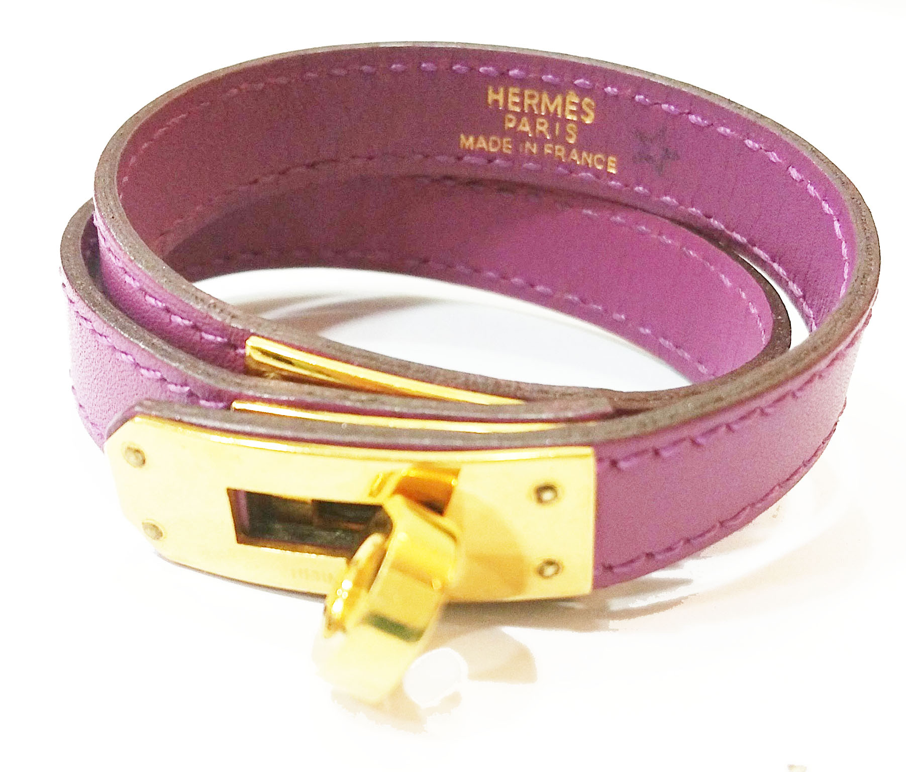"Image of ""Hermes 18K Gold Purple Kelly Double Tour Turn Bracelet"""