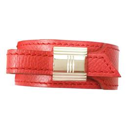 Hermes Kelly Lock Red Wide Leather Bracelet