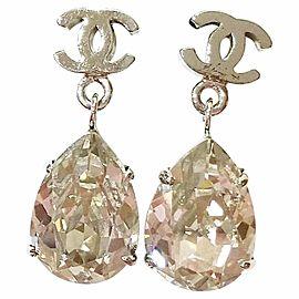 Chanel CC Tear Drop Rhinestone Shiny Earrings
