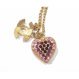 Chanel 18K Gold Plated Pink Fuchsia Rhinestone Heart CC Bracelet