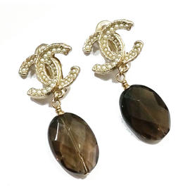 Chanel Pearl CC Brown Glass Dangle Clip on Earrings