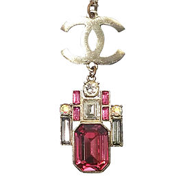 Chanel LARGE CC Crystal Geo Pink Necklace