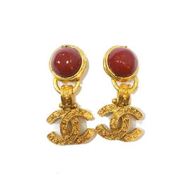 Chanel CC 18K Gold Plated Red Stone Dangle Clip On Earrings