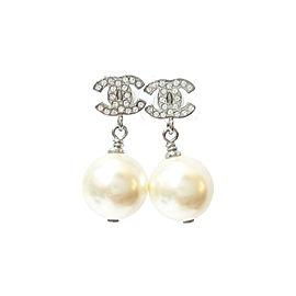 Chanel CC Rhinestone Pearl Dangle Piercing Earrings