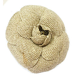 Chanel Tan Tweed Signature Camellia Flower Brooch
