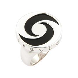Bulgari 18K Yellow Gold & Stainless Steel Onyx Spinning Optical Ring