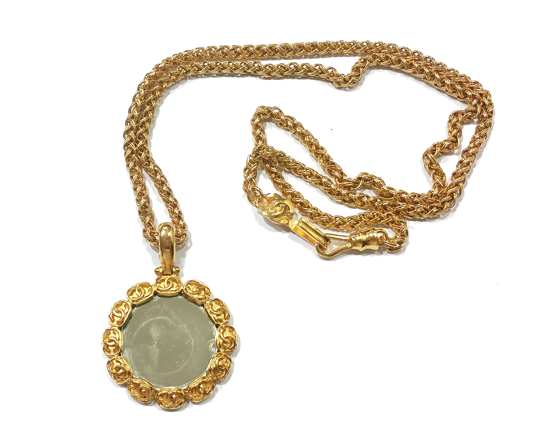 """Image of """"Chanel CC Gold Plated Round Mirror Large Pendant Necklace"""""""