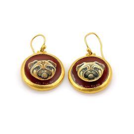 Gurhan Antiquities Spell 24K Yellow Gold Onyx Painted Dog Dangle Earrings