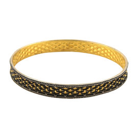 Gurhan 24K Yellow Gold & Sterling Silver Capitone Wide Granulation Fancy Design Bangle