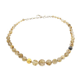 Gurhan 24K Yellow Gold & 925 Sterling Silver Galapagos Rutilated Quartz Graduated Necklace