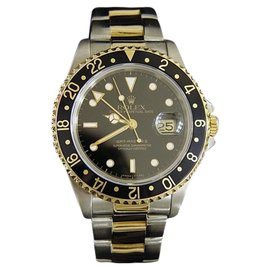 Rolex GMT-Master II 16713 18K Yellow Gold and Stainless Steel Oyster Black Mens Watch