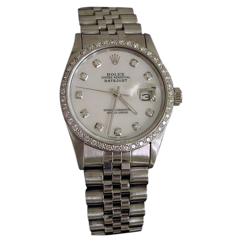 """Image of """"Rolex Datejust Stainless Steel White Mother of Pearl Diamond With"""""""