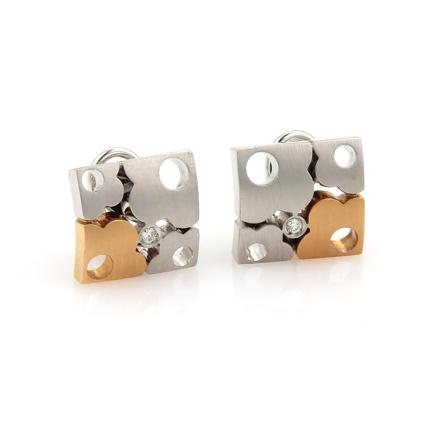 "Image of ""Koesia 18K Yellow & White Gold Diamonds Floral Puzzle Earrings"""