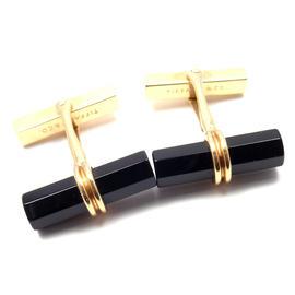 Tiffany & Co. 14K Yellow Gold Black Onyx Cufflinks
