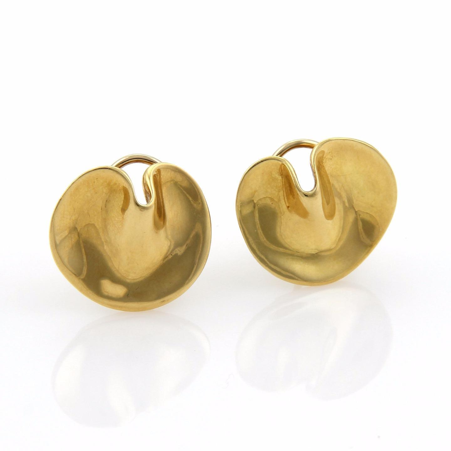 """Image of """"Tiffany & Co. 18K Yellow Gold Round Curved Post Earrings"""""""