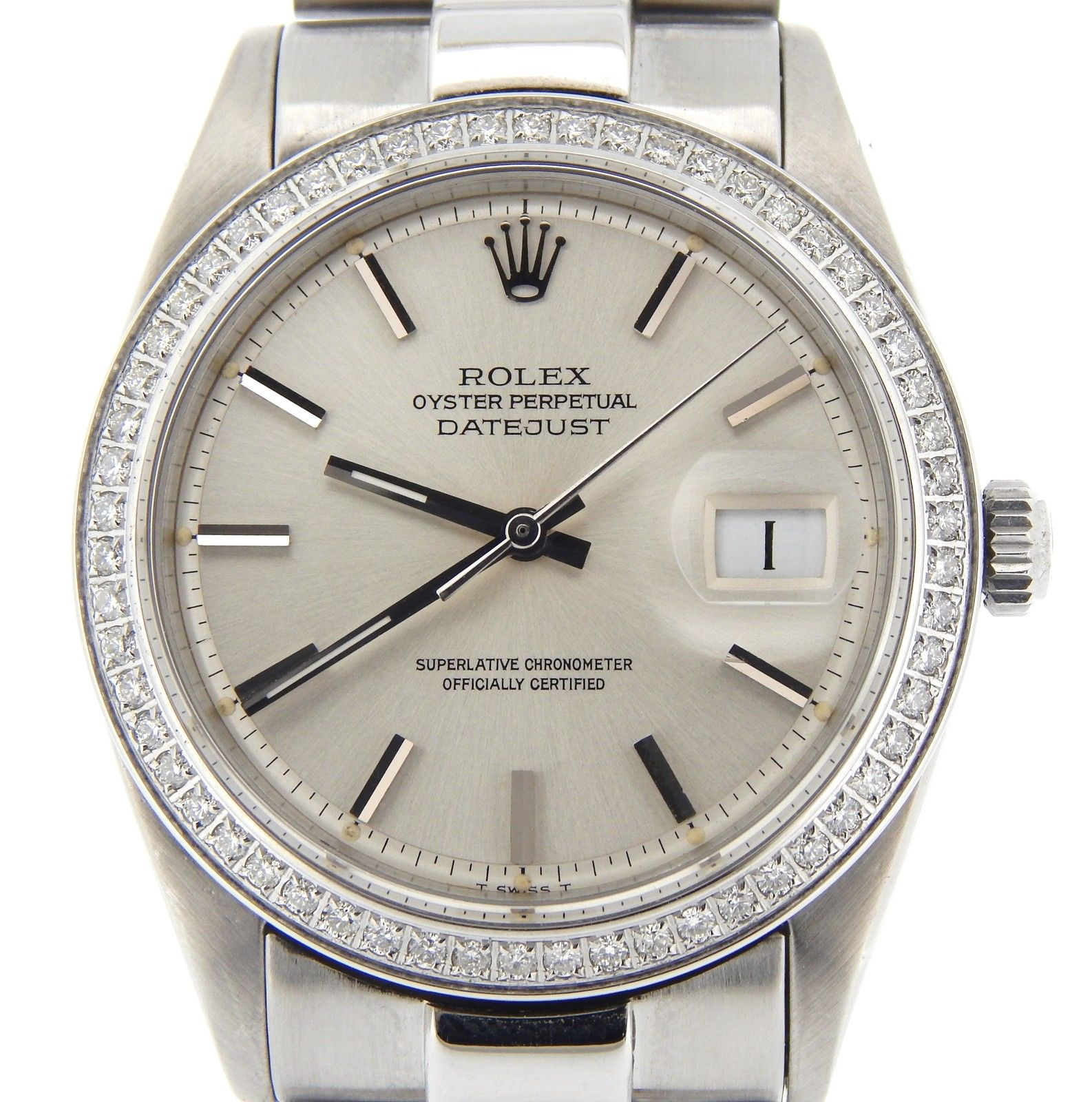 """Image of """"Rolex Datejust 1603 Stainless Steel With 1ct Diamond Bezel & President"""""""